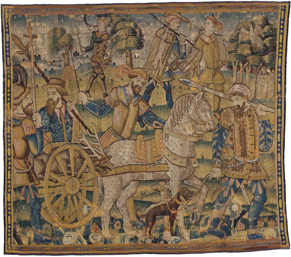 Шпалера «Возвращение с охоты». Фландрия или Франция, вторая половина XVI в. Шерсть, шелк; шпалерное ткачество. 233,5 × 268 см. Коллекция Инны Баженовой