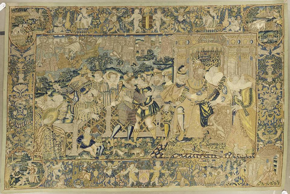 Вышитое панно «Аллегория мира Генриха II». Франция, начало 1560-х. Шерсть, шелк; вышивка гобеленовым швом по льняной ткани. 236×352 см. Коллекция Инны Баженовой