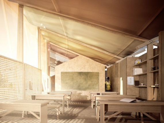 Джо Браши спроектировал полукруглое здание школы в виде амфитеатра на Гаити