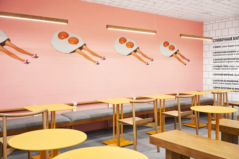 Минималистичный поп-арт в петербургском кафе «Яйцо и булочка»